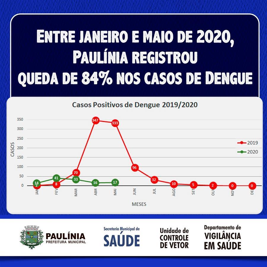 Paulínia registra queda de 84% nos casos de dengue