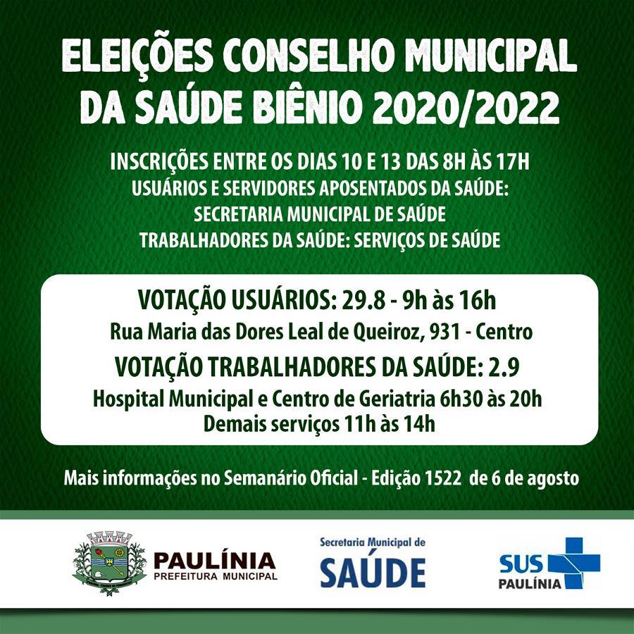 Inscrições para as eleições do Conselho Municipal de Saúde têm início