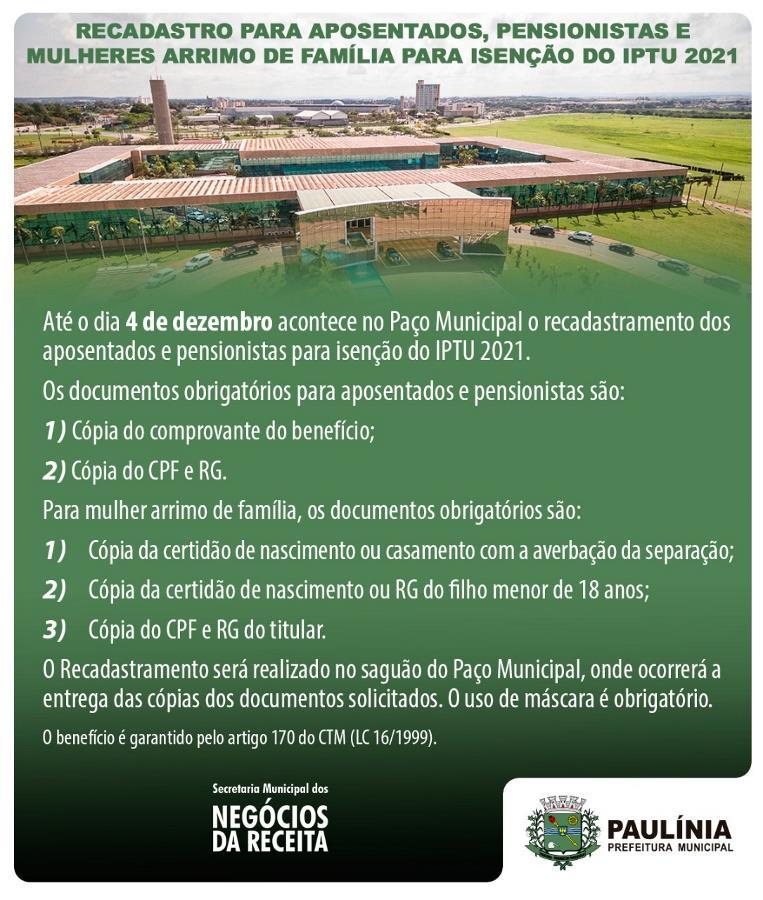 Prefeitura inicia recadastro para isenção do IPTU