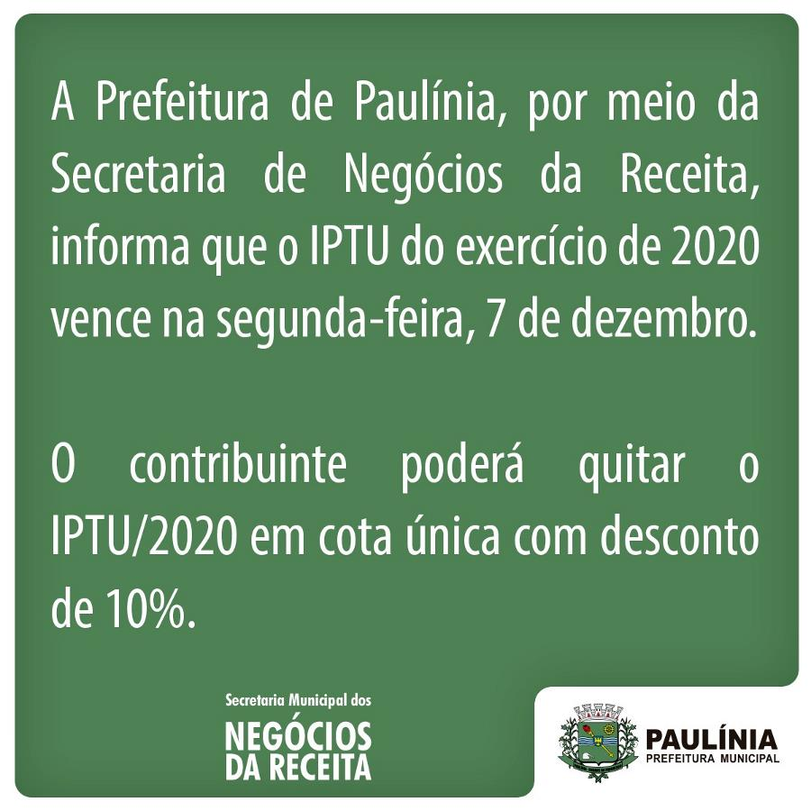 IPTU 2020 vence na próxima segunda-feira, 7