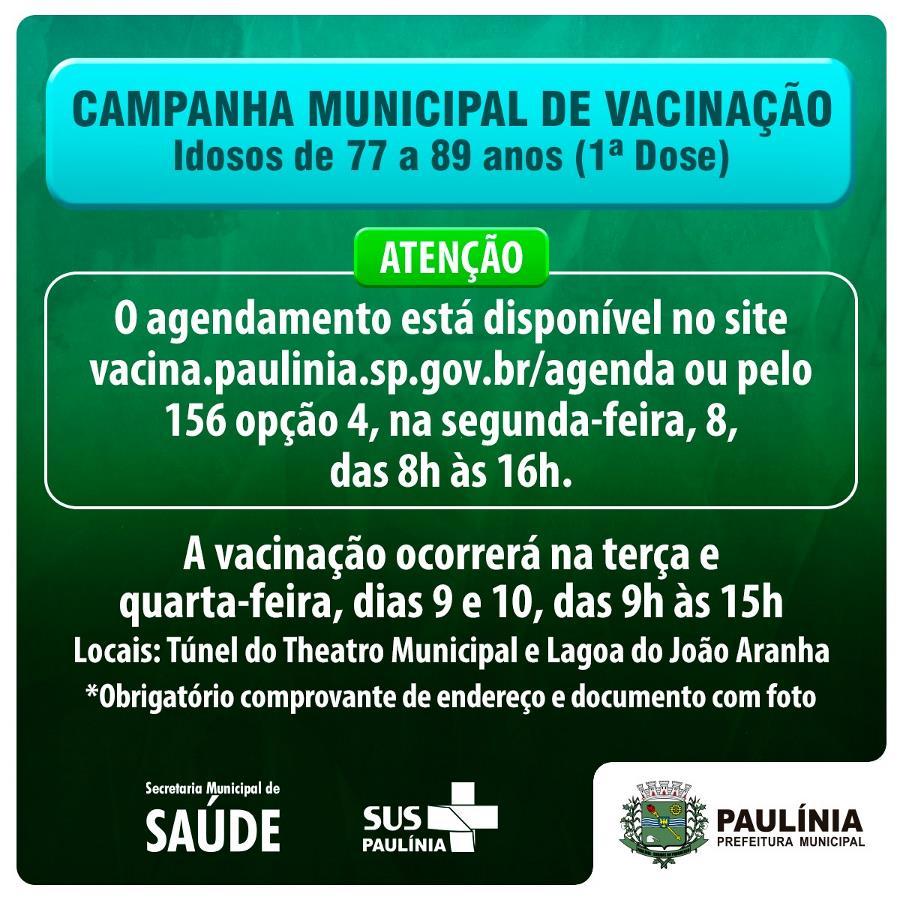 Vacinação contra Covid-19 será realizada por agendamento